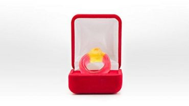 THE HARIBO CANDY RING HAS BEEN TURNED INTO A DIAMOND RUBY RING